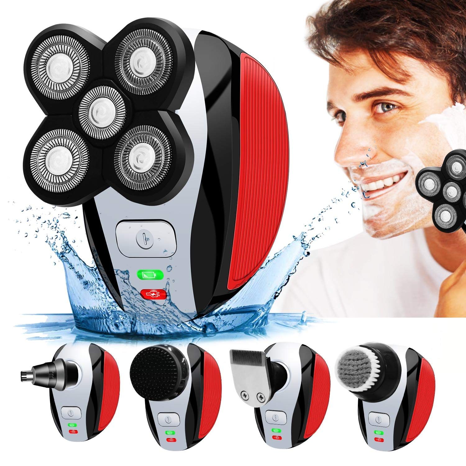 Mens Electric Shaver with pop up Trimmer, Wet and Dry Electric Razor USB Rechargeable for Trim Beard, Face and Bald Head Shaving A-TION
