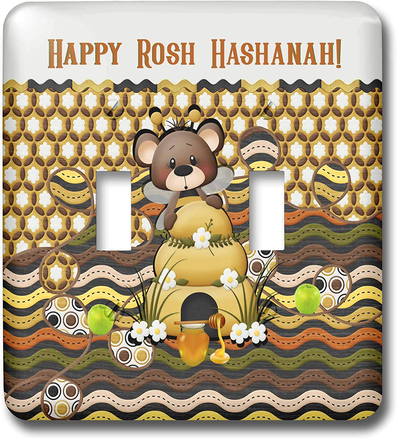 3dRose Beverly Turner Rosh Hashanah Design - Image of Rosh Hashanah Bee Bear, Honeycomb, Apples, Jar, and Bee Hive - double toggle switch (lsp_325238_2)