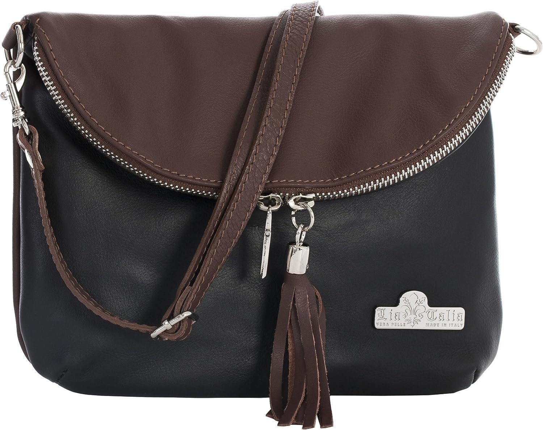 Italian Bag Company Womens Vera Pelle Medium Cross Body Bag Genuine Italian soft leather wit 2 Pockets Black