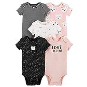 Carter's Baby Girls 5 Pack Bodysuit Set, Kitty Love, 18 Months