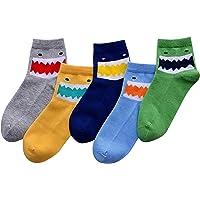 FEOYA - Lot de 5 Paires Chaussettes Basse Garçon en Coton Socquette Multicolores Chaussettes à Motif Dinosaures Enfant Garçon 1-10 ans