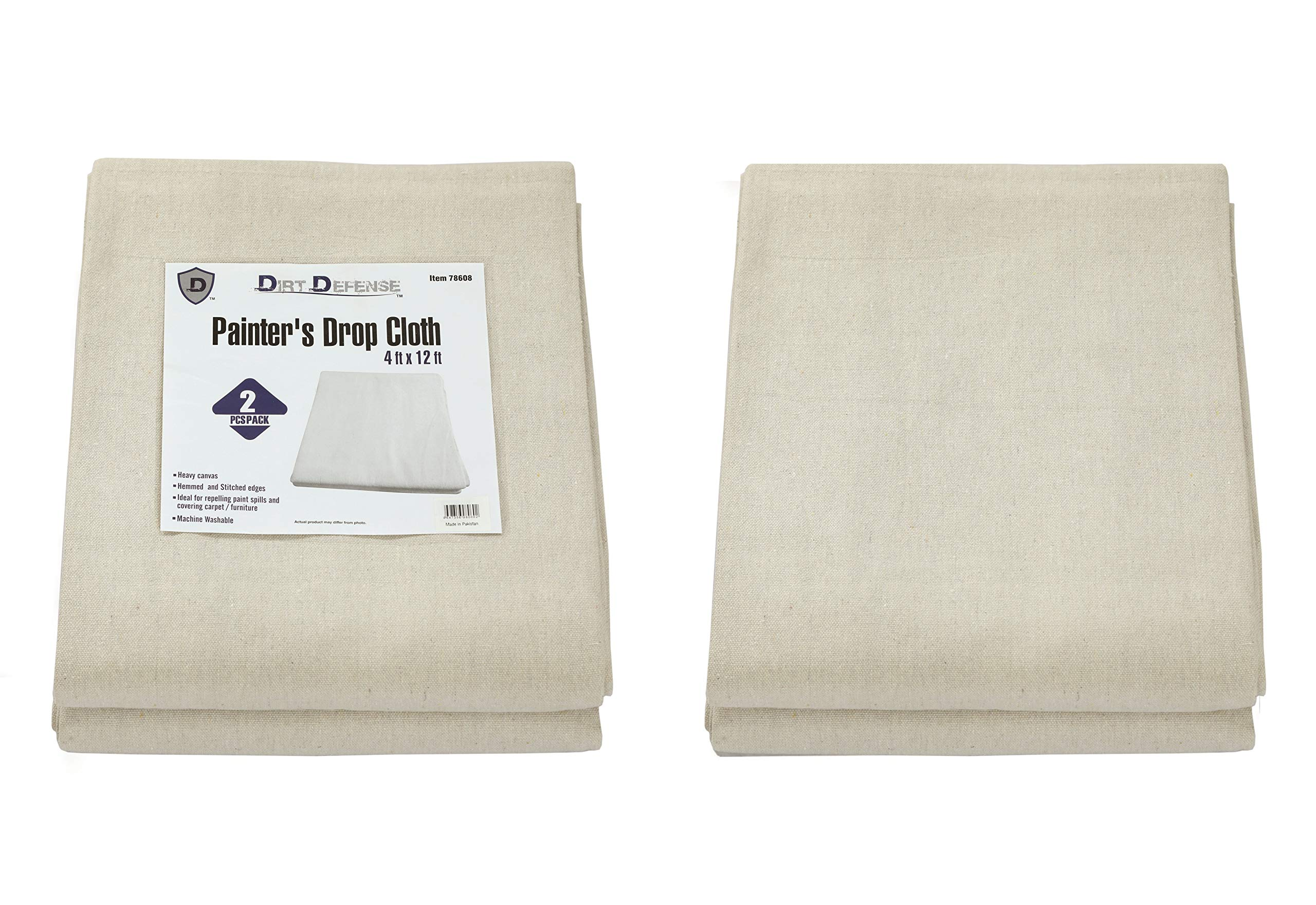 Pack of 2: Dirt Defense Cotton & Heavy canvas Drop cloth 4ft x 12 ft