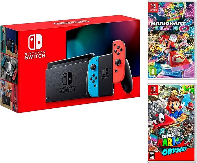 Nintendo Switch-Konsole 32Gb Neon-Rot/Neon-Blau + Super Mario ...