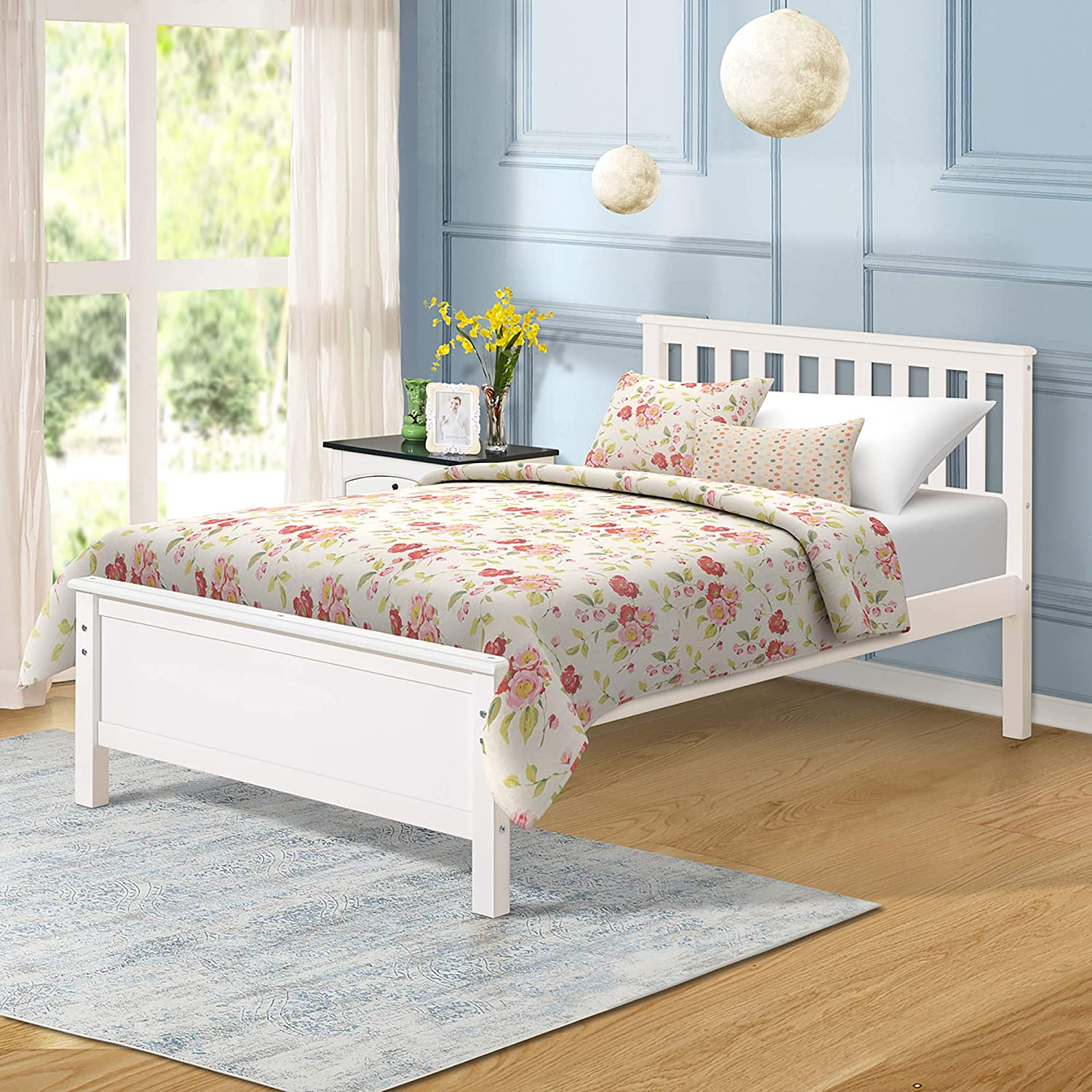 Harper Bright Designs Wood Platform Bed with Headboard, Footboard, Wood Slat Support, No Box Spring Needed Twin, White