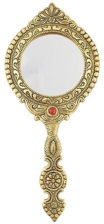 Houzzplus Handicrat Metal Decorative mirror - wedding gifts - antique item (20 cm x 1 cm x 27 cm, Gold)