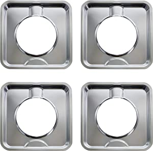 Kitchen Basics 101 SGP-400 4 Pack Chrome Square Gas Range Pan Directly Replaces 786333, AP6011553, PS11744751 and many others