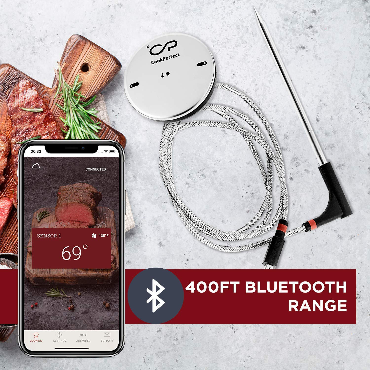 CookPerfect Wireless Meat Thermometer with 400ft Bluetooth Range | Automatic Core and Air Temperature Readings | for BBQ, Oven and Grill Cooking (1 Probe Included) by CookPerfect (Image #4)