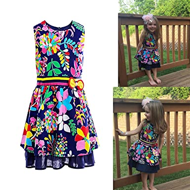 4dcbab8e82ea Amazon.com  Little Girls Dress Sleeveless Kids Art Painted Floral ...