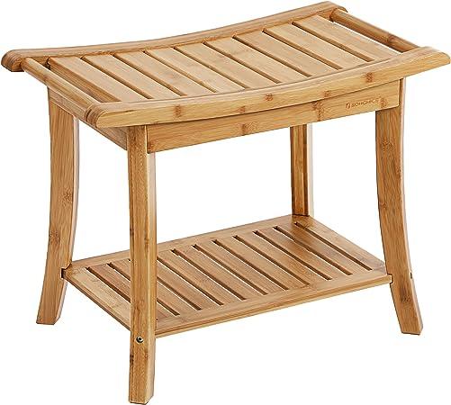SONGMICS - Banco de ducha de bambú, portátil, con estante para toallas para interiores o exteriores: Amazon.es: Bricolaje y herramientas