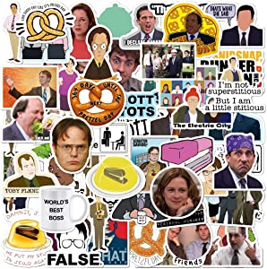 [100 pcs] The Office tv Show Merchandise Stickers, Gift for Coworkers Dunder Mifflin Vinyl Sticker for Bumper Laptops Hydro Flask Water Bottles Phone Case - Funny Sticker for Michael Scott Dwight