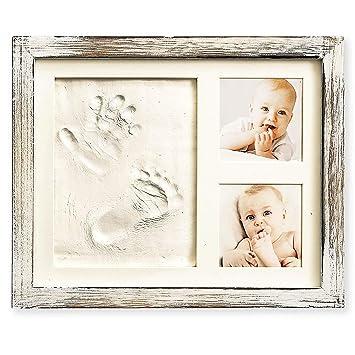 Amazon.com: Kit de manecillas y huellas de bebé en marco ...
