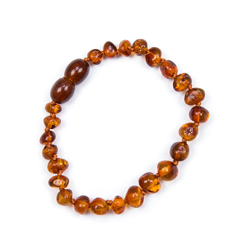 Baby J's 100% Genuine Baltic Amber Anklet Bracelet Cognac sizes 11cm 12cm 13cm 14cm 15cm 16cm 17cm Money Back Guarantee.