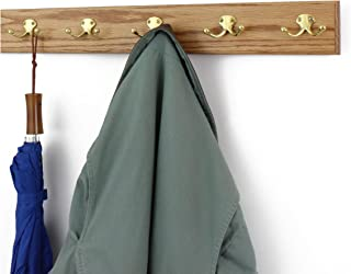 "product image for PegandRail Solid Oak Wall Mounted Coat Rack with Solid Brass Double Style Coat Hooks - Made in The USA (Golden Oak, 3.5"" x 25.5"" with 5 Hooks)"