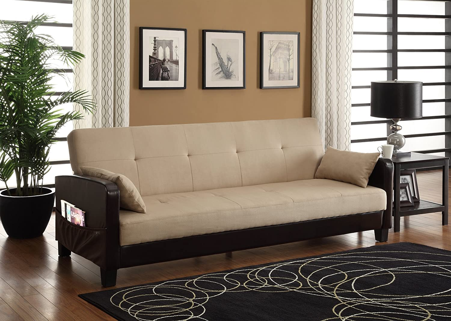 Amazon: DHP Vienna Sofa Sleeper With 2 Pillows - Chocolate Brown And  Tan: Kitchen & Dining
