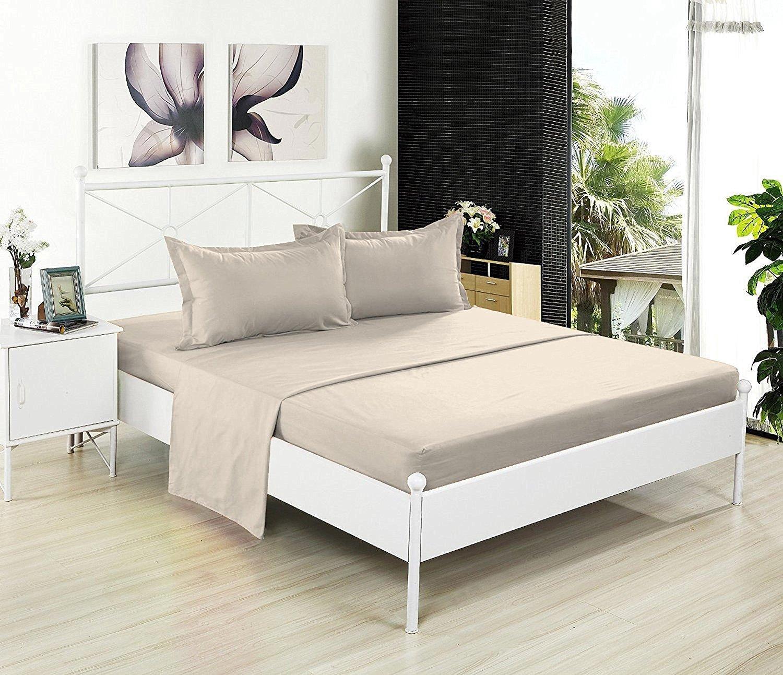 フラットシートのみ – 200スレッドカウント100 %コットン – Soft and Comfy – by Crescent寝具 クイーン ベージュ FLS-BEIGE-QN B01M08QJTX クイーン|ベージュ ベージュ クイーン