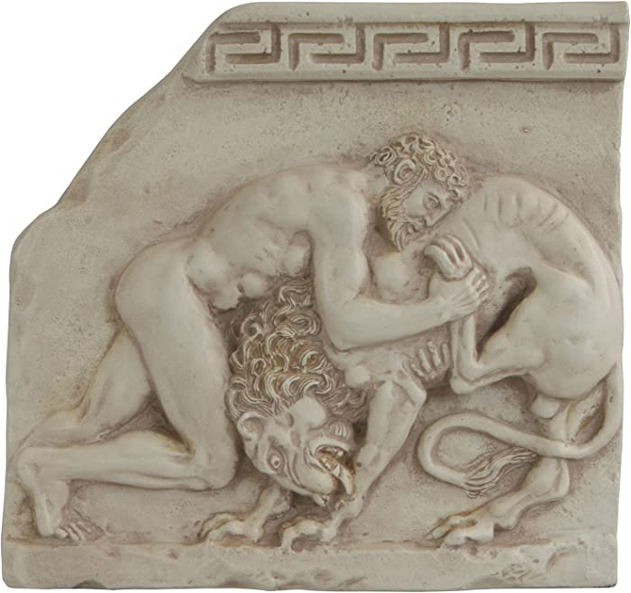 Culture Spot Wall Plaque of Hercules Fighting with Nemean lion | Wall Art | Ready to hang | Stone Finish | Wall Relief | 11 Inches High 11 Inches Wide