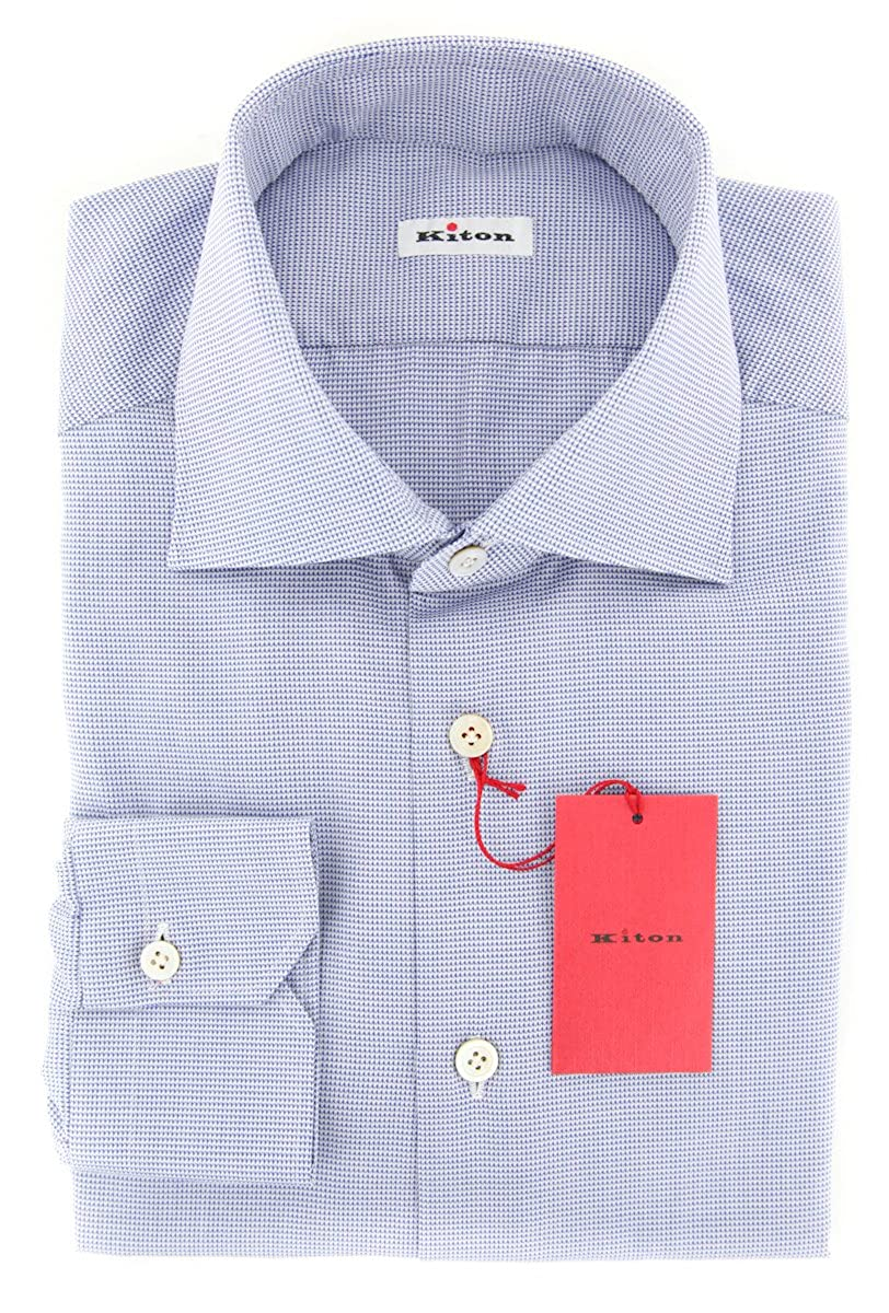 Kiton Patterned Button Down Spread Collar Cotton Slim Fit Dress Shirt