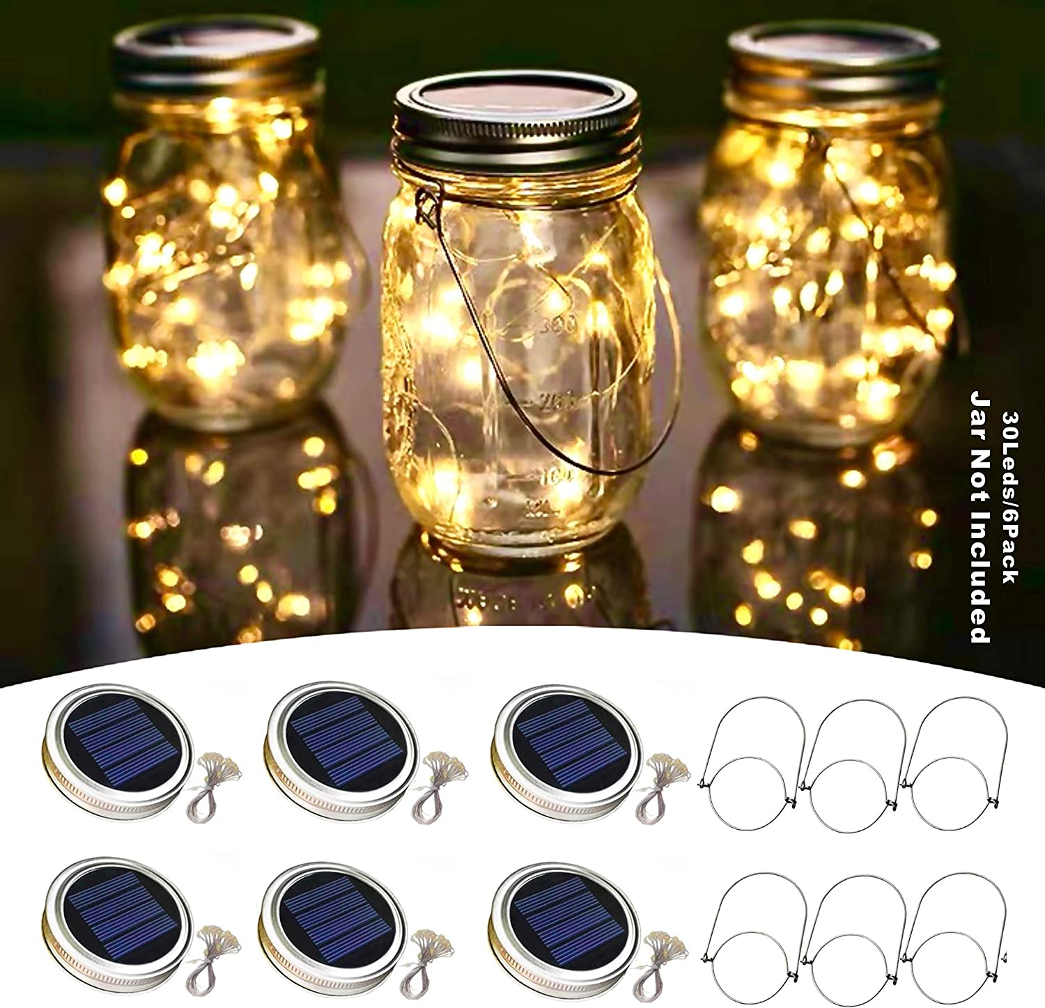 30 Led Solar Mason Jar Lid Lights,6 Pack Waterproof String Fairy Star Firefly Jar Lids Lights with 6 Hangers, Best for Mason Jar Decor, Patio Wedding Christmas Party Indoor/Outdoor(Warm White)