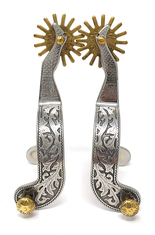 AJ Tack Wholesale Gal Leg Shank Show Spurs Silver Oak Leaves Cut Out Engraving Brass Rowels Mens