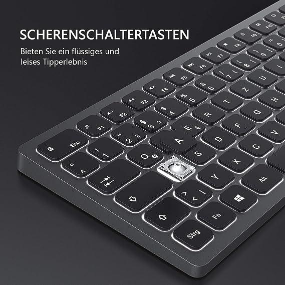 seenda Teclado inalámbrico iluminado, teclado inalámbrico con ...