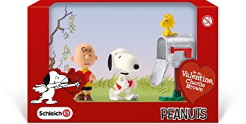 Schleich Peanuts Be My Valentine Charlie Brown Valentine Day Scenery Mini  Figure Pack