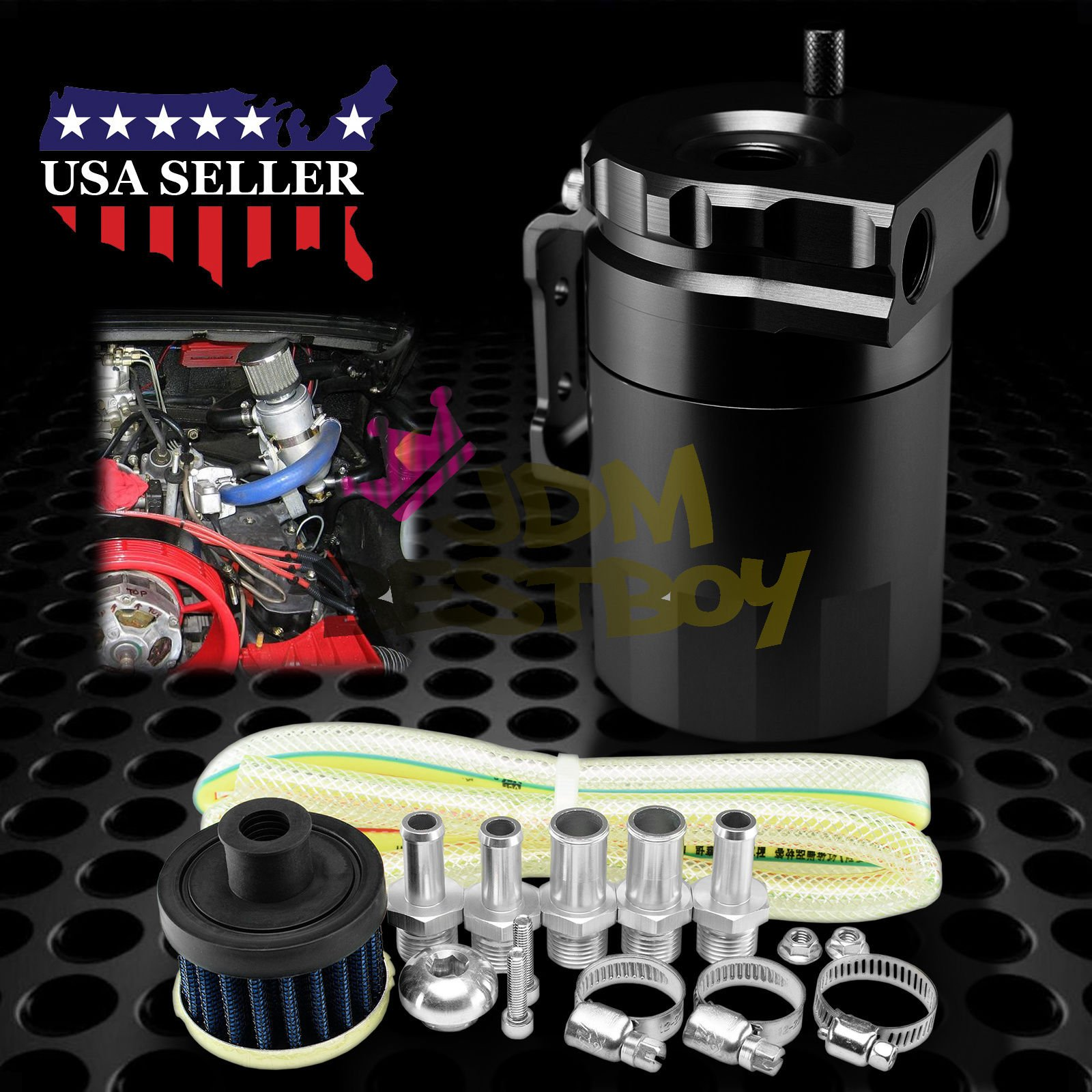 Black Billet Aluminum Engine Oil Catch Reservoir Breather Tank Can Cylinder With Filter #3