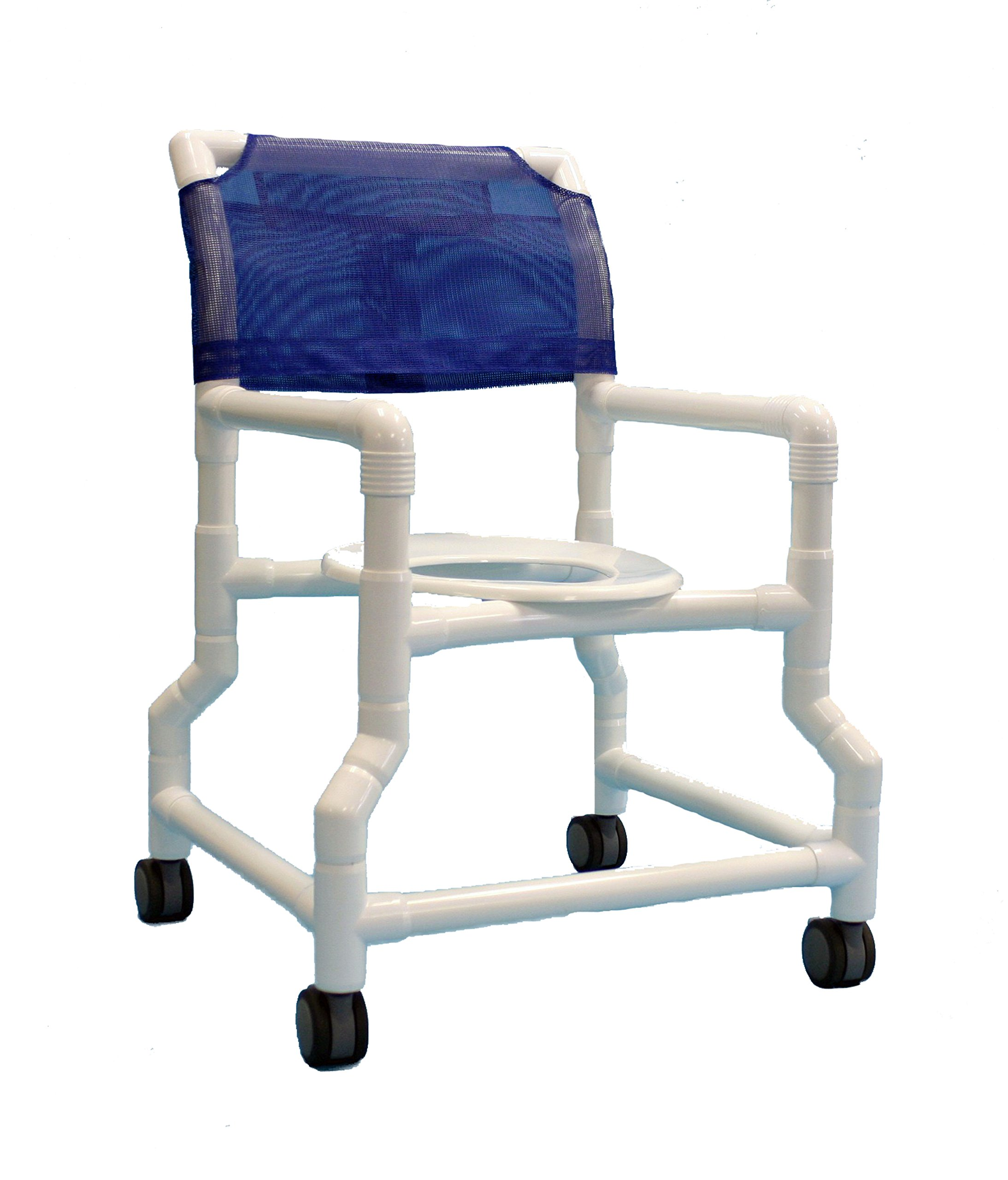 Care Products 540WTW-RB Extra Wide Base Shower Chair with 18'' Internal width, 3'' EZ Clean All Locking Twin Wheel Casters, 38'' Height, 24'' width, 29'' Length