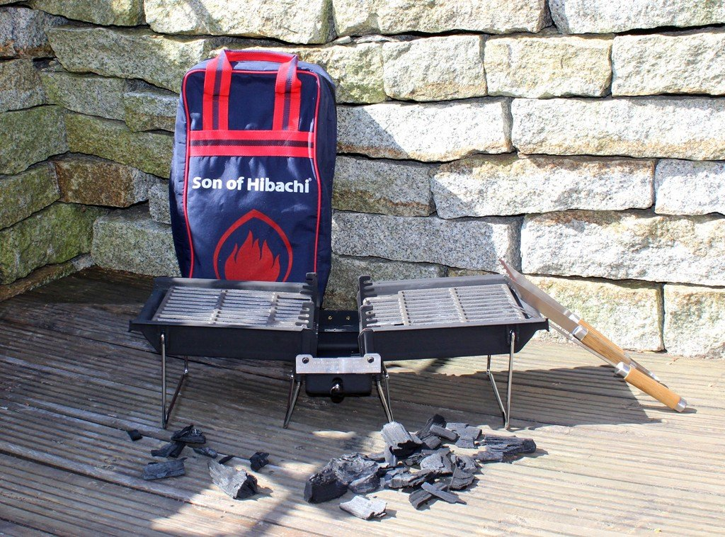 Original Son of Hibachi charcoal grill newest model 2017 | The ideal portable barbecue on the go | Cleans itself and extinguishes the fire itself | Saves charcoal - is glowing charcoal burns no more | Grease residues dissolve | Grill grates in reinforced