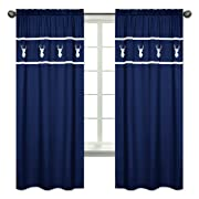 Sweet Jojo Designs 2-Piece Navy White Deer Boys Bedroom Decor Window Treatment Panels for Navy Blue, Mint and Grey Woodsy Collection