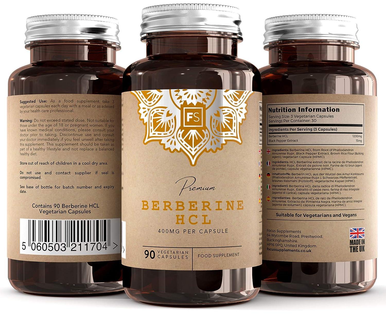 FS Berberina HCL [400 mg] todo natural   90 Capsulas Veganas de con Extracto de Pimienta Negra Para una Mejor Absorción   Fabricado en el Reino Unido ...