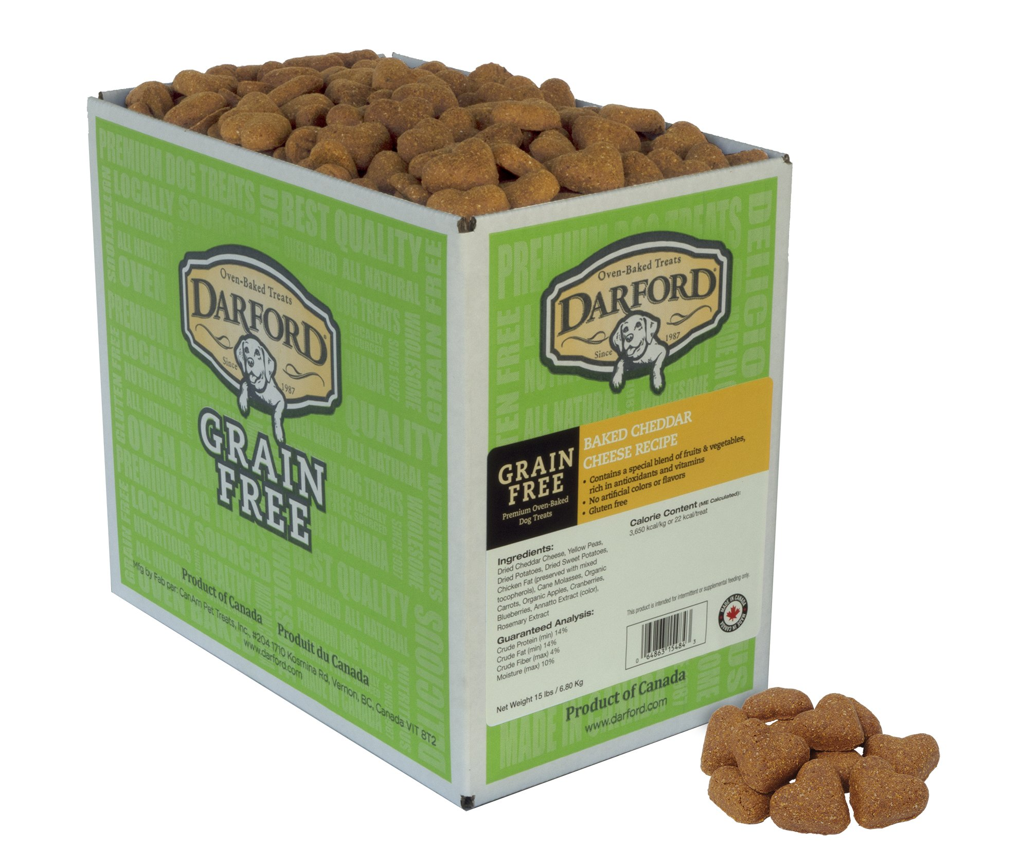 Darford Oven Baked Grain Free Cheddar Cheese Recipe Dog Treats, 15 Lb