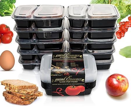 10-set recipientes de comida con tapa - reutilizable, congelador ...