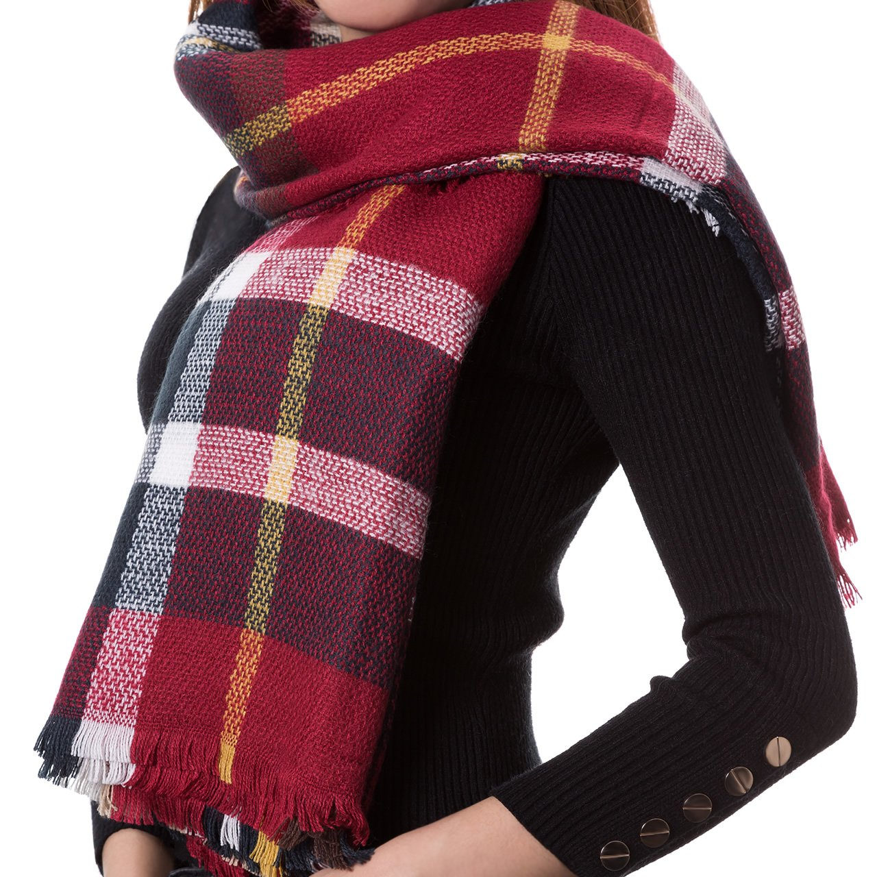 Woolen Bloom Sciarpa Donna Scialle Inverno Coperta Cachemire Invernale Elegante Lungo Plaid Autunno Invernali