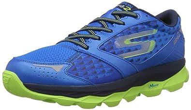 Skechers Men s Go Run Ultra 2 Blue and Lime Mesh Running Shoes - 8 ... d6425b1be