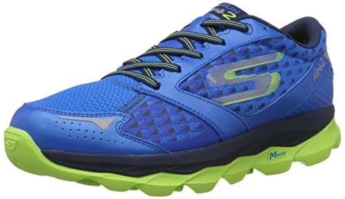 222bf250a3c Skechers Men s Go Run Ultra 2 Blue and Lime Mesh Running Shoes - 8 ...