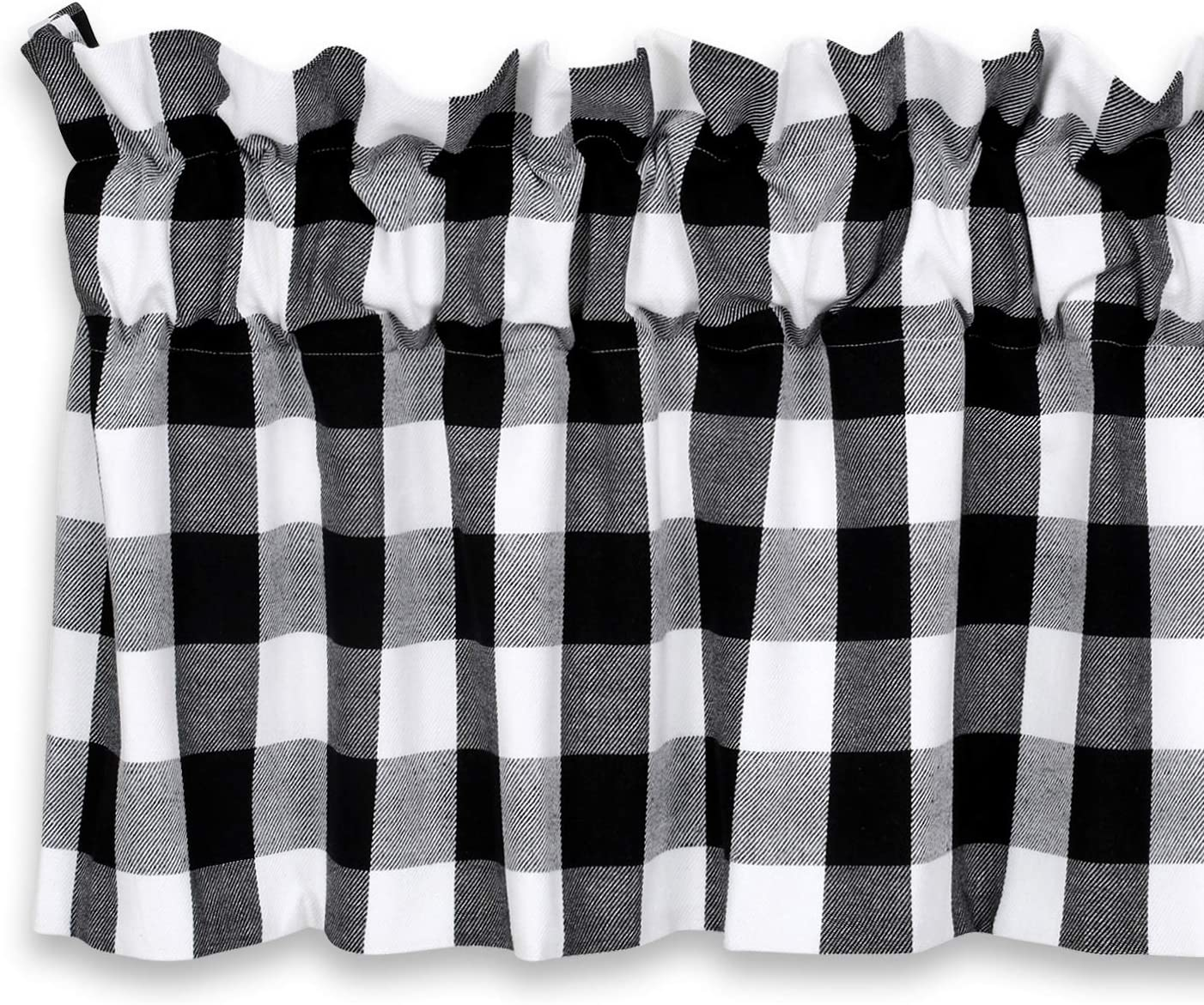Cackleberry Home Black and White Buffalo Check Valance Curtain Woven Fabric Lined 54 Inches W x 17 Inches L
