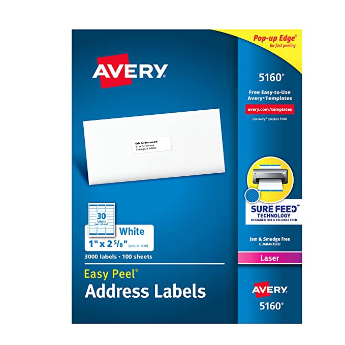 Amazon Avery Easy Peel Address Labels For Laser Printer 1 X 2