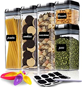 Airtight Food Storage Container Set - Set of 5 - Kitchen & Pantry Organization Containers with Durable Lids - BPA-Free Clear Plastic Canisters for Flour, Cereal & Sugar - Labels, Marker & Spoon