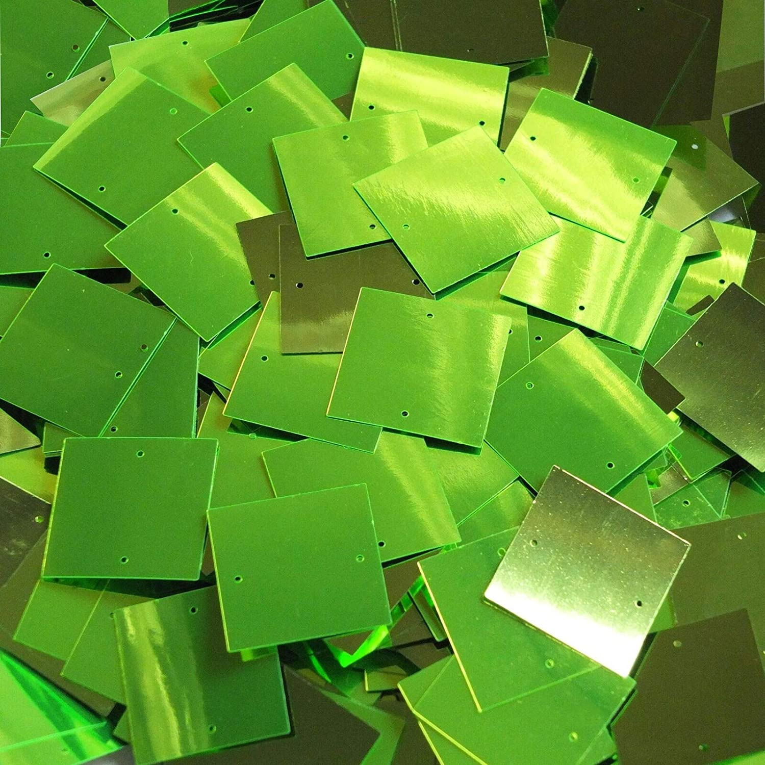 Great for sewers, Skaters, costumers, Theatrical Productions, Pageants Rhinestones /& Sequins 25mm Square s Lime Green Metallic Loose Paillettes