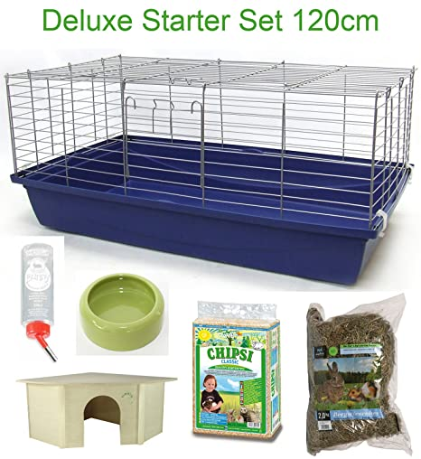 120 cm Deluxe jaula cobaya Conejo Starter Set: Amazon.es ...