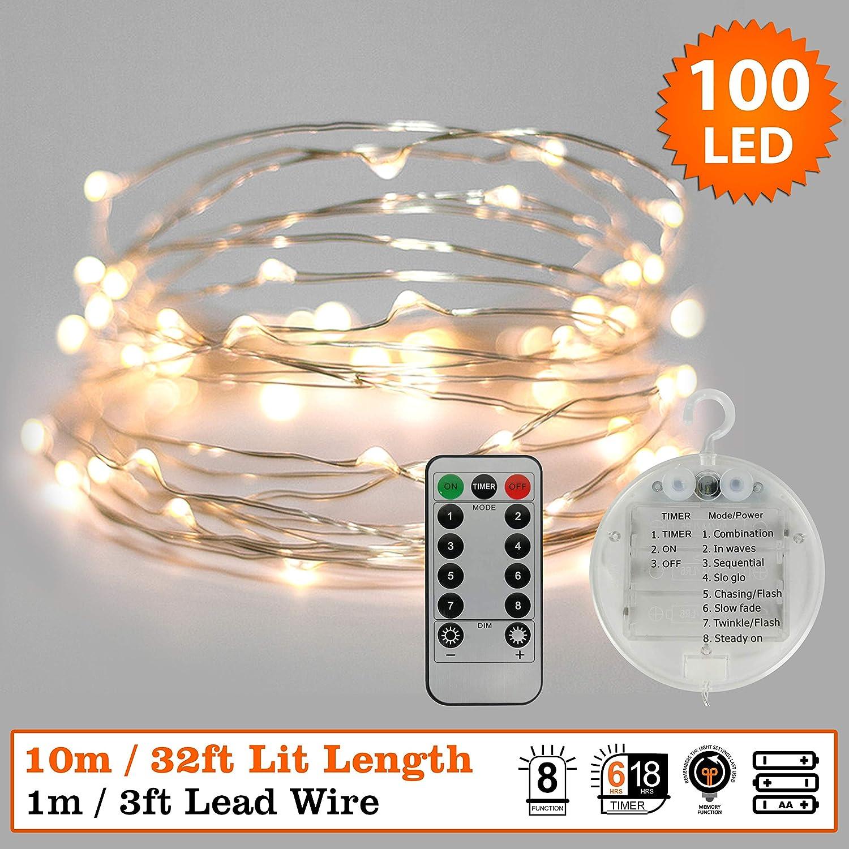 Guirlande de No/ël 6 Pack Li/ège 10 LED Blanc Chaud Int/érieur Guirlande Lumineuse /À Batterie Batterie de Fil De Cuivre D/écorations 90 cm Longueur Longueur