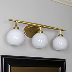 Decor Therapy WL1157 Michael Milk Glass 3 Vanity Light, 24x9x6.75, Gold