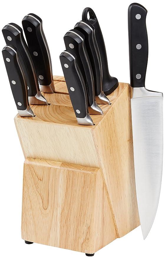 AmazonBasics Premium 9-Piece Kitchen Knife Block Set