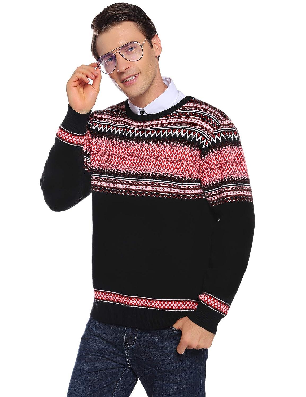 Aibrou Su/éter para Hombre de Manga Larga Pullover Jers/éis Hombre Invierno Casual Cuello en V Cl/ásico
