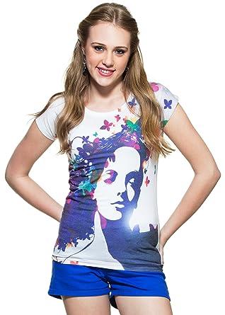 zovi poly cotton dreamy butterfly girl print white t shirt
