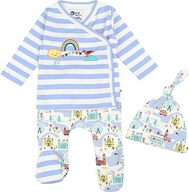 Piccalilly - Juego de 3 piezas para ropa de bebé, pantalones con pie + parte superior + sombrero de nudo, algodón orgánico suave, tema de Londres: Amazon.es: Ropa y accesorios