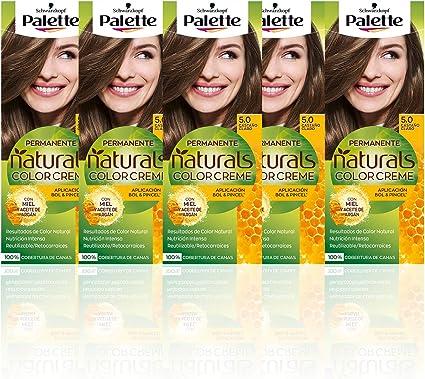 Schwarzkopf Palette Naturals Color Creme - Tono 5 cabello Castaño Claro (Pack de 5) - Coloración Permanente – Perfecta cobertura de canas – Colores ...