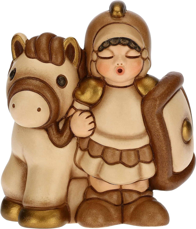 Thun – Figura de Belén Soldado con caballo – Decoración navideña para casa – Línea Belén clásico, Variante Beige – Cerámica – 7,5 x 5,5 x 8,5 h cm