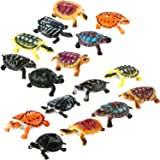 Bememo 16 Pieces Realistic Sea Turtle Lifelike Tortoises Ocean Animal Plastic Small Turtle Figurines for Party Favor…
