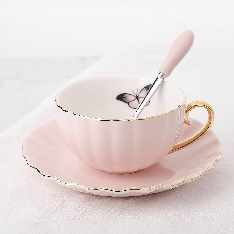 4 Juegos de Tazas de Café de Porcelana, 200ml, Juegos de Café de Cerámica Vajillas de té para Hogar, Oficina